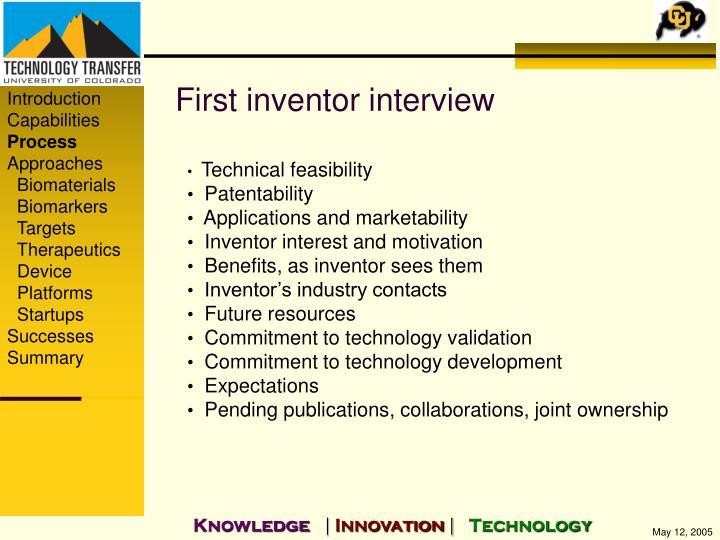 First inventor interview