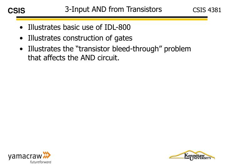 3-Input AND from Transistors