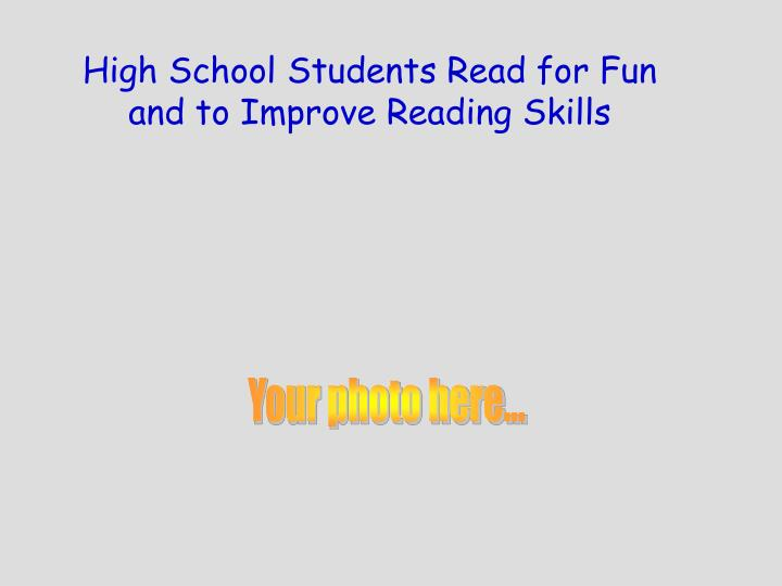 High School Students Read for Fun