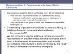 recommendation 2 requirements to be issued digital certificates