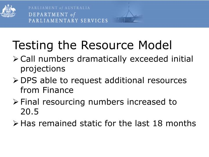 Testing the Resource Model