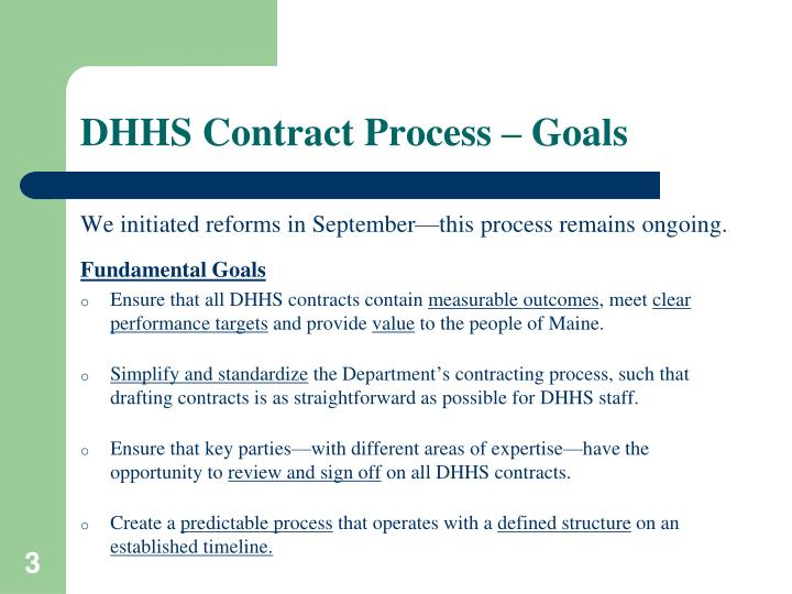 Dhhs contract process goals