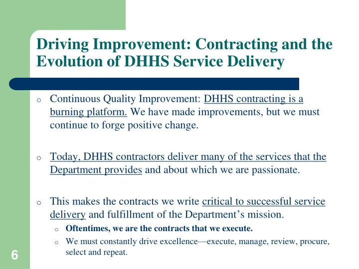Driving Improvement: Contracting and the Evolution of DHHS Service Delivery