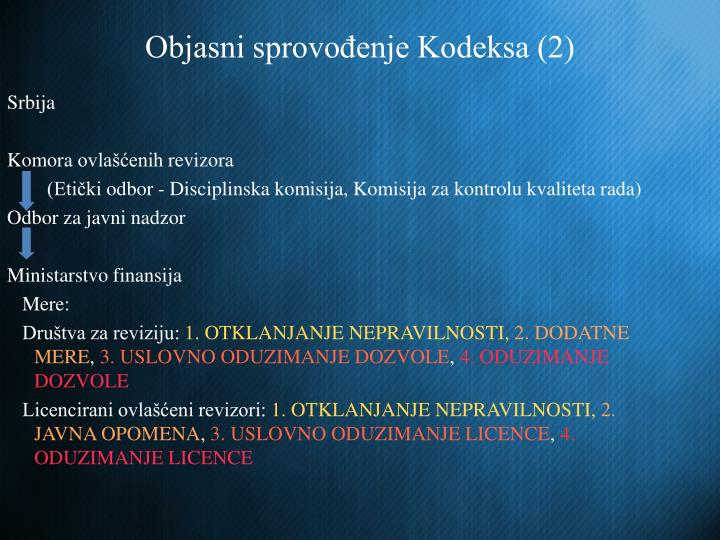 Objasni sprovođenje Kodeksa (2)