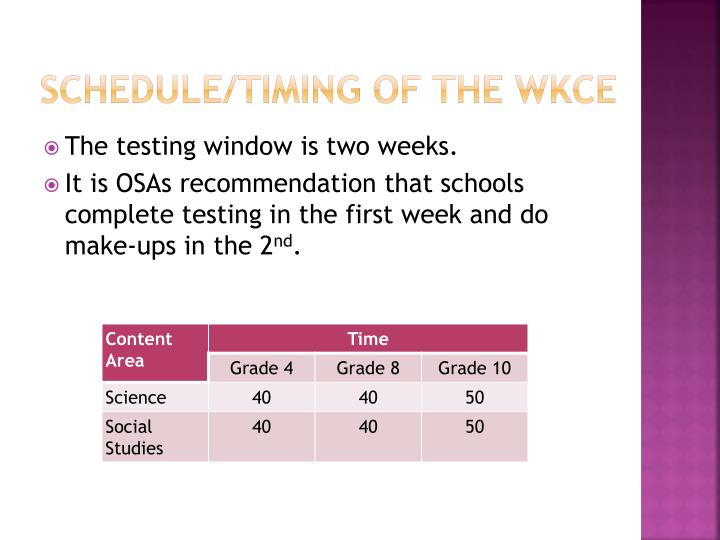 Schedule/Timing of the WKCE