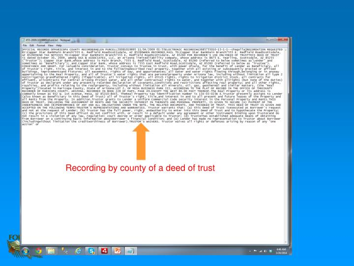 Recording by county of a deed of trust