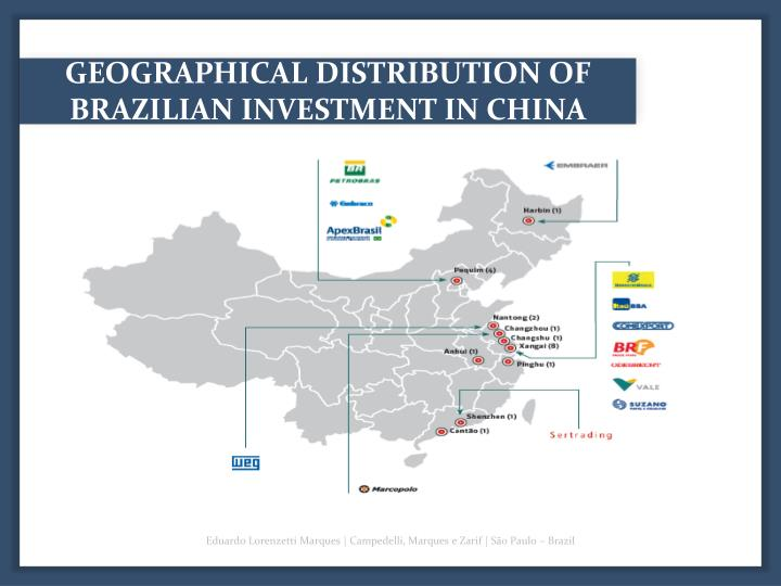 GEOGRAPHICAL DISTRIBUTION OF BRAZILIAN INVESTMENT IN CHINA