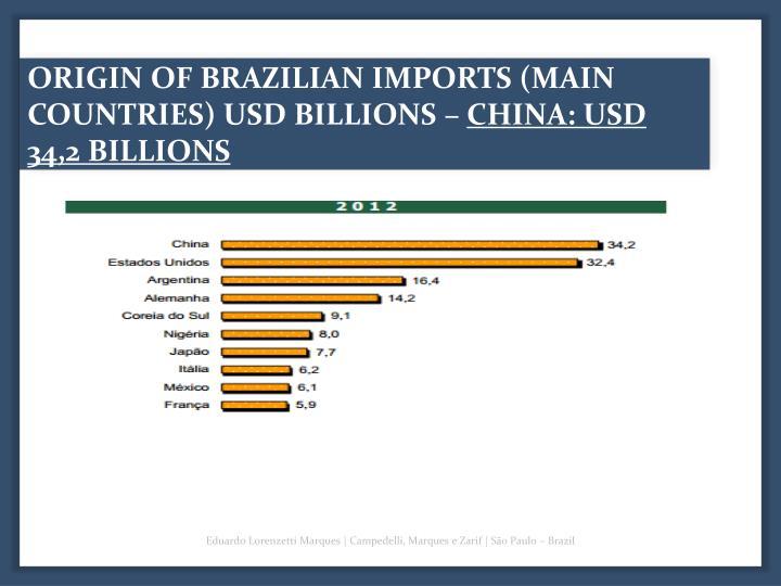 ORIGIN OF BRAZILIAN IMPORTS (MAIN COUNTRIES) USD BILLIONS –