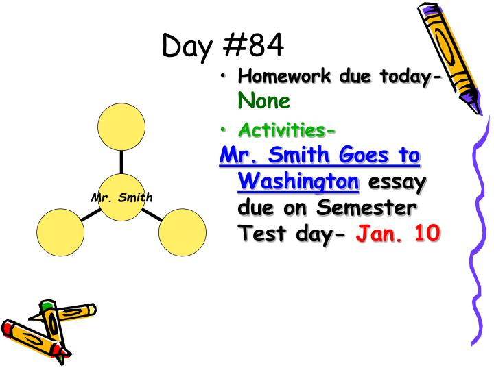 Apa Format Essay Example Paper Day  Homework Due Today None Activities Mr Smith Goes To Washington  Essay  Essay Writing For High School Students also Thesis In Essay Ppt  Civics Powerpoint Presentation  Id Short Essays In English