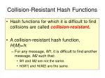 collision resistant hash functions