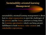 sustainability oriented learning management
