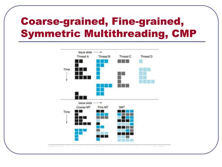 Coarse-grained, Fine-grained, Symmetric Multithreading, CMP