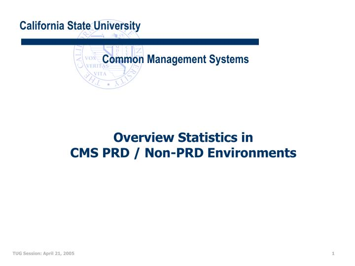 overview statistics in cms prd non prd environments