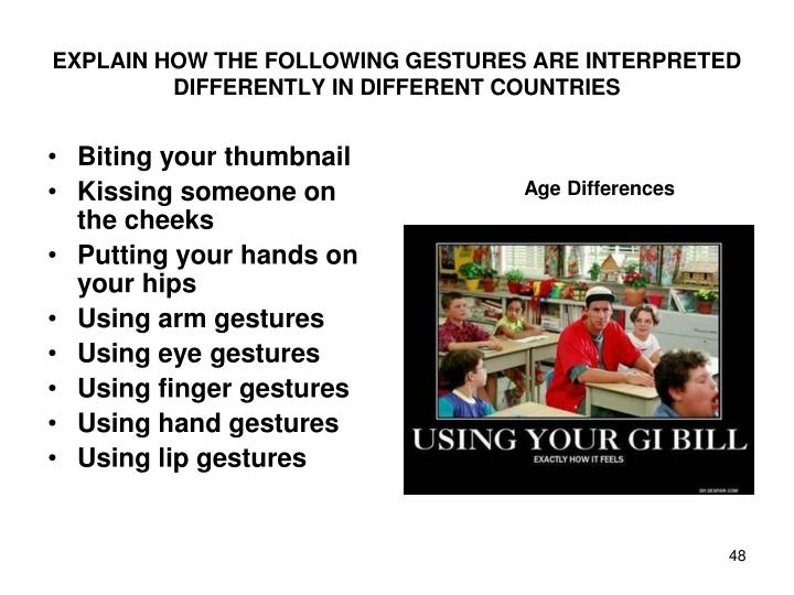 EXPLAIN HOW THE FOLLOWING GESTURES ARE INTERPRETED DIFFERENTLY IN DIFFERENT COUNTRIES