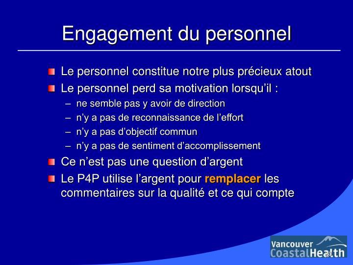 Engagement du personnel