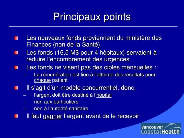 Principaux points