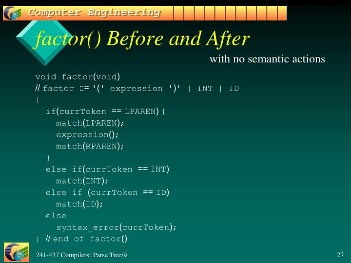 factor() Before and After