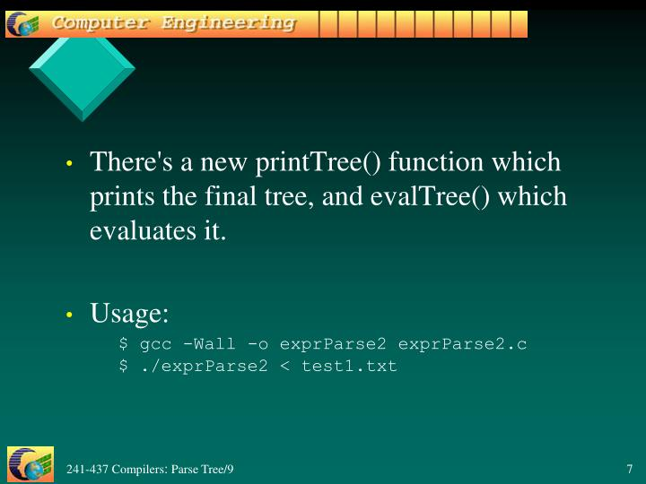 There's a new printTree() function which prints the final tree, and evalTree() which evaluates it.