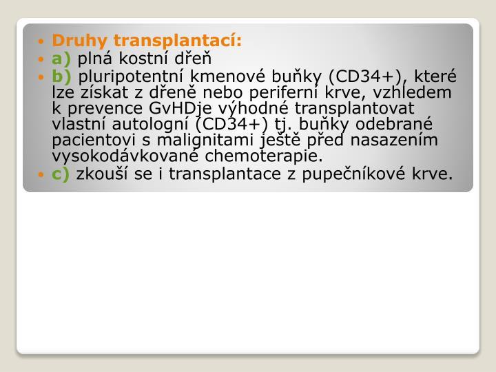 Druhy transplantací: