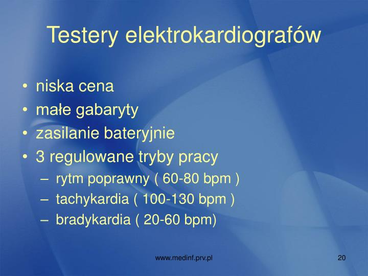 Testery elektrokardiografów