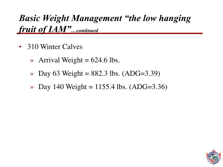 "Basic Weight Management ""the low hanging fruit of IAM"""