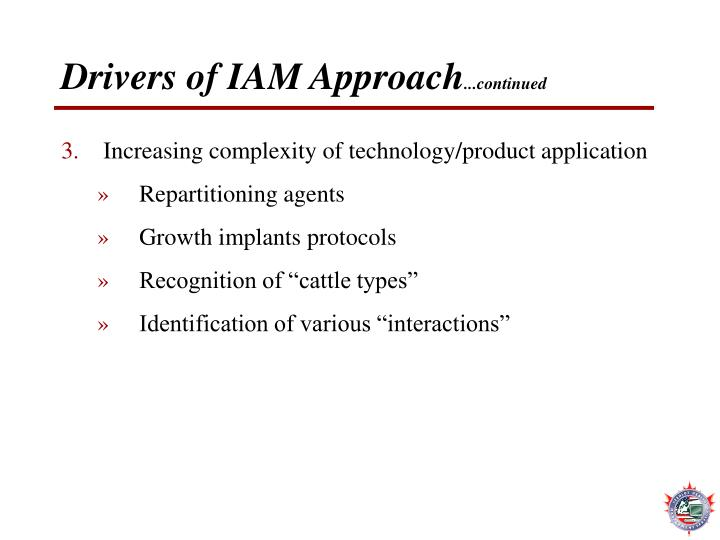 Drivers of IAM Approach