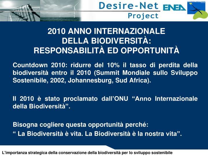 2010 ANNO INTERNAZIONALE