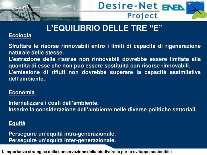 """L'EQUILIBRIO DELLE TRE """"E"""""""