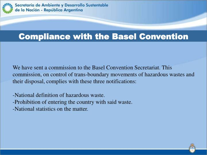 Compliance with the Basel Convention