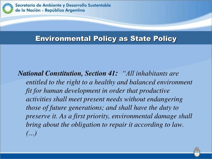 Environmental Policy as State Policy