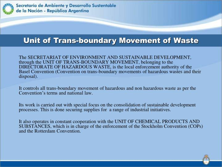 Unit of Trans-boundary Movement of Waste