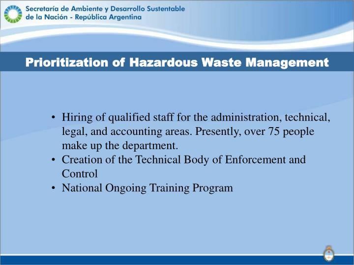 Prioritization of Hazardous Waste Management