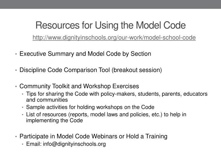 http://www.dignityinschools.org/our-work/model-school-code