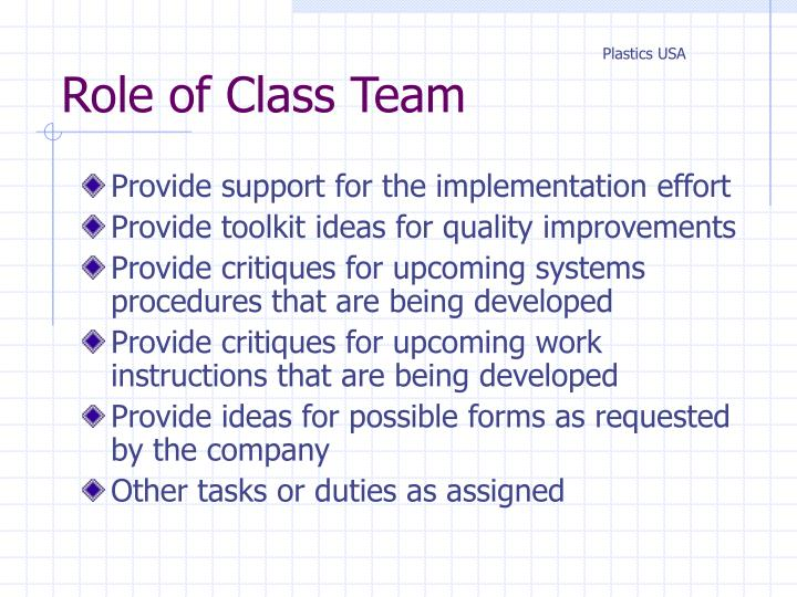 Role of Class Team