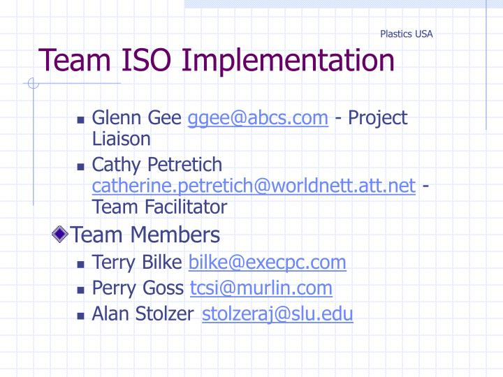 Team iso implementation