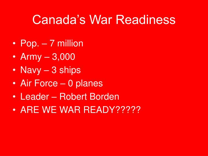 Canada s war readiness
