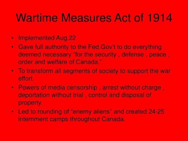 Wartime measures act of 1914