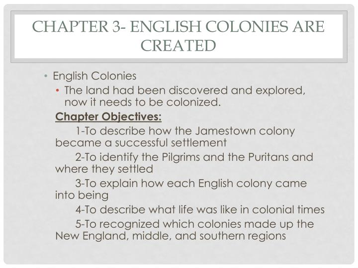 Chapter 3 english colonies are created