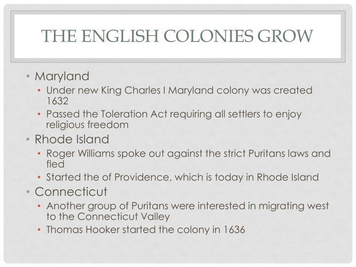The English Colonies Grow