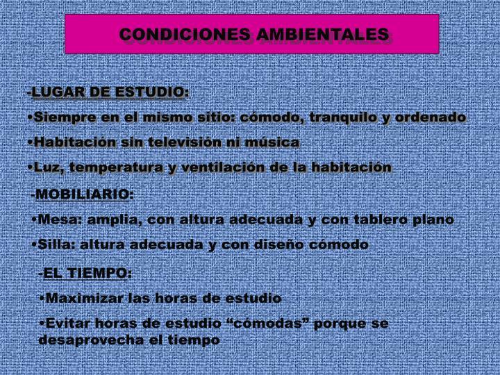 CONDICIONES AMBIENTALES