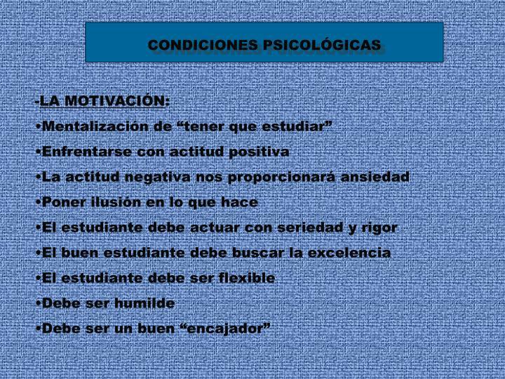 CONDICIONES PSICOLÓGICAS