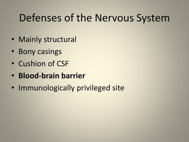 Defenses of the nervous system