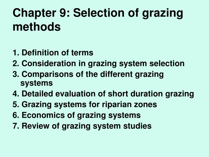 chapter 9 selection of grazing methods n.