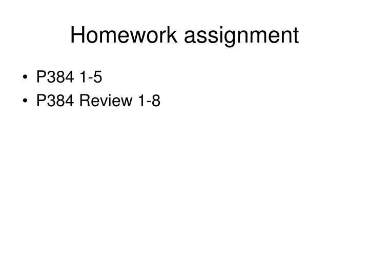 Homework assignment