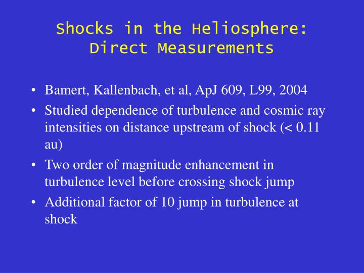 Shocks in the Heliosphere: Direct Measurements