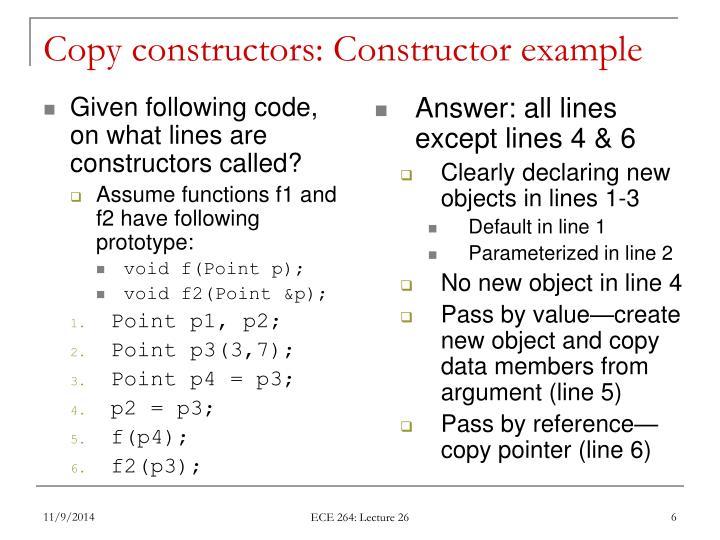 Copy constructors: Constructor example