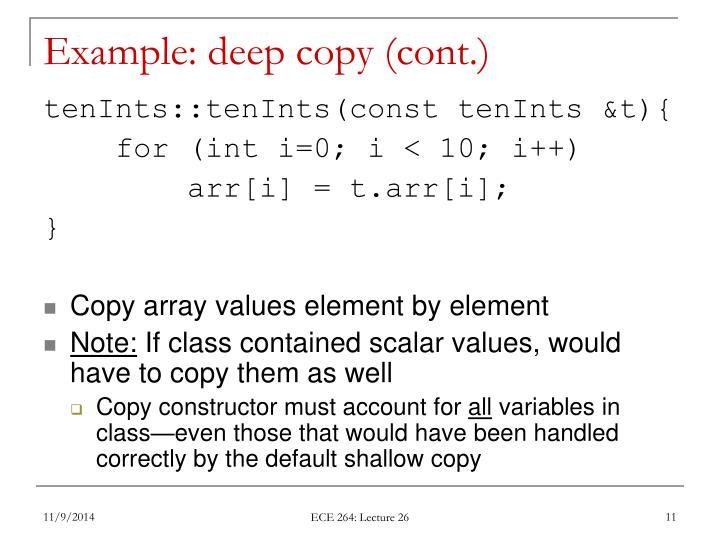 Example: deep copy (cont.)