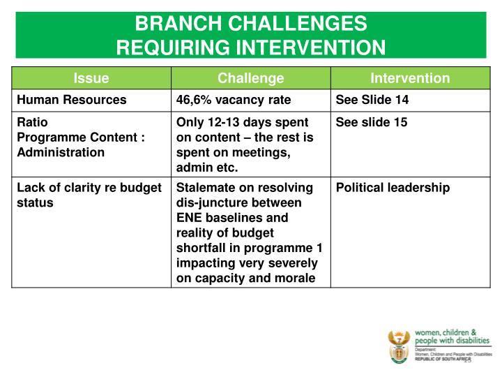 BRANCH CHALLENGES