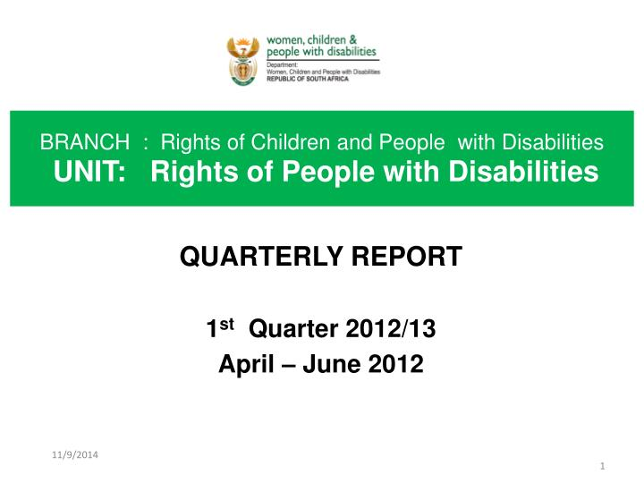 Branch rights of children and people with disabilities unit rights of people with disabilities