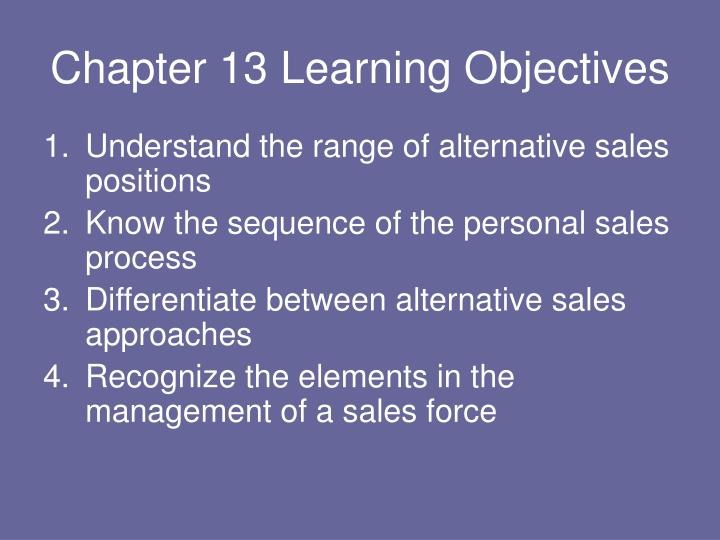 Chapter 13 learning objectives